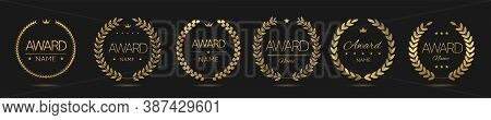 Golden Award Icon Set. Laurel Wreath Labels. Insignia Signs, Prize Icons, Trophy Labels