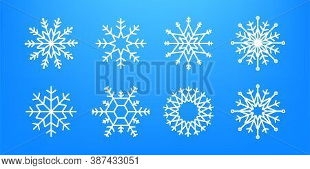 Many White Cold Flake Elements On Transparent Background. Heavy Snowfall, Snowflakes In Different Sh