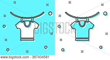 Black Line Drying Clothes Icon Isolated On Green And White Background. Clean Shirt. Wash Clothes On