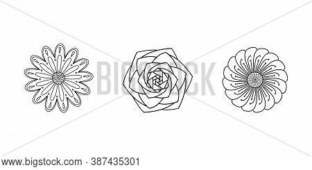 Black Vector Drawing Of Rose Mandala, Tattoos With Flower Petals, Polygon, Dots, Circle. Hand-drawn