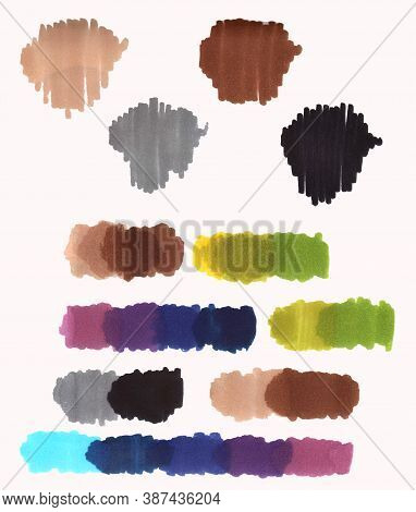 Sketch Markers Colour Palette.hand Drawn Swatches.shade Of Colors On White Background.multucolor Mar
