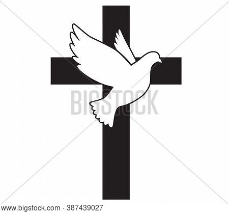 Dove Flying With A Symbol Of Religion. Cross. Dove Of Peace. Vector Illustration. Holy Spirit. Churc
