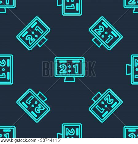 Green Line Sport Mechanical Scoreboard And Result Display Icon Isolated Seamless Pattern On Blue Bac