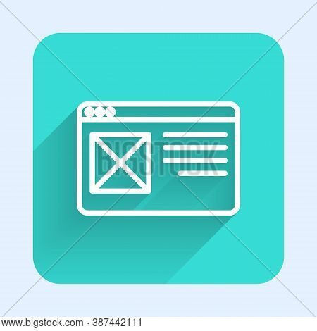 White Line Browser Window Icon Isolated With Long Shadow. Green Square Button. Vector