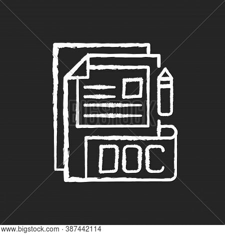 Doc File Chalk White Icon On Black Background. Document File Format. Word Processing Software. Forma