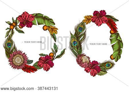Floral Wreath Of Colored Banana Palm Leaves, Hibiscus, Solanum, Bromeliad, Peacock Feathers, Protea