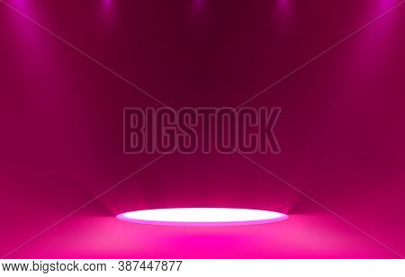 Stage Podium With Lighting, Stage Podium Scene With For Award Ceremony On Color Background.
