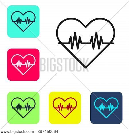 Black Line Heart Rate Icon Isolated On White Background. Heartbeat Sign. Heart Pulse Icon. Cardiogra