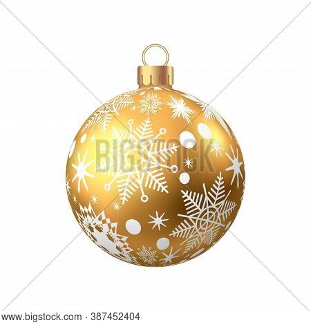 Golden  Christmas  Ball  With Pattern  Isolated On White Background. Xmas  Tree Decoration. Vector G
