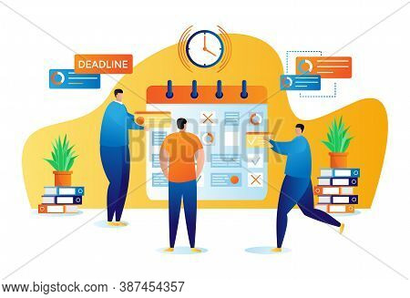 Business Planning And Organisation Of Tasks Flat Vector Illustration. Businessman Or Manager With Bu
