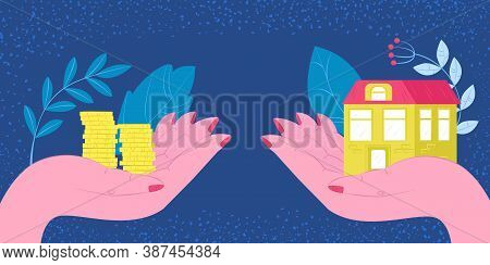 Buy House, Real Estate Investment Or Housing Payment Vector Illustration. Buying New House Metaphor