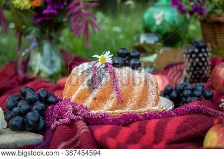 Bundt Cake On A Picnic Blanket In A Park