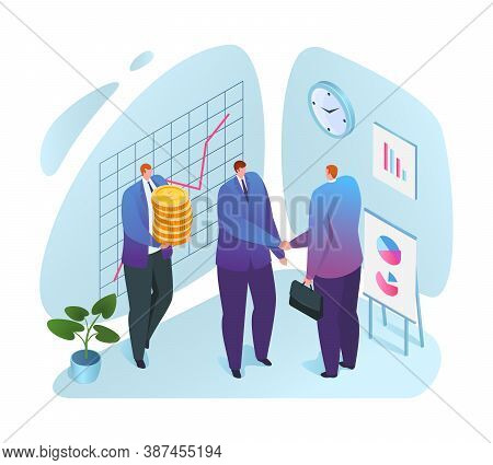 Financial Support To Business Vector Illustration. Businessman Getting Money, Financial Aid With Lif