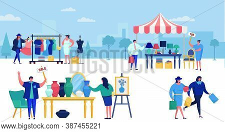 Flea Market Filled With People Out Shopping Vector Illustration. Retro And Vintage Fashion Old Cloth