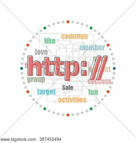Text Http. Web Design Concept . Word Collage With Different Association Terms