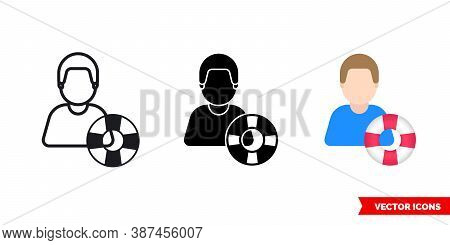 Rescuer Lifesaver Icon Of 3 Types Color, Black And White, Outline. Isolated Vector Sign Symbol.