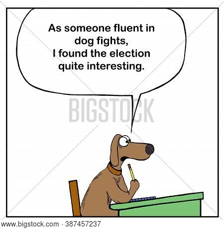 Color Cartoon Of A Dog Answering A Question In Classroom And Stating As Someone Familiar With Dog Fi