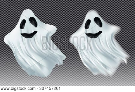 White Transparent Ghost Vector Illustration. Ghosts Isolated On Dark Background. The Concept Of Hall