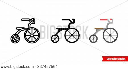 Tricycle Icon Of 3 Types Color, Black And White, Outline. Isolated Vector Sign Symbol.