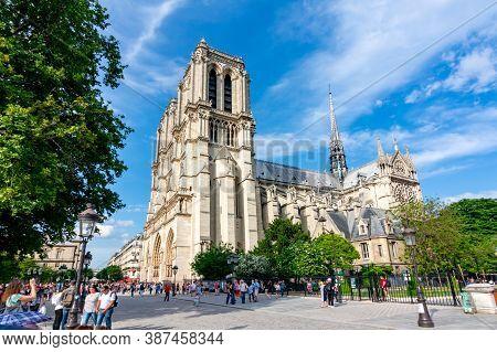 Paris, France - May 2018: Notre-dame De Paris Cathedral On Cite Island