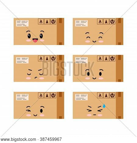 Parcels Character Icons Set Isolated On White Background. Cardboard Closed Sealed With Tape Boxe Wit