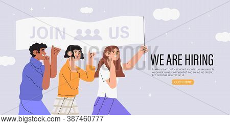 Vector Illustration Of Company Searching New Employee Or Worker. Concept Of Join Us, Freelance Job O