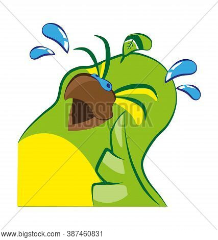 Cute Budgie Bird In Crying Laughter - Laugh Emote - Vector Emoticon Isolated