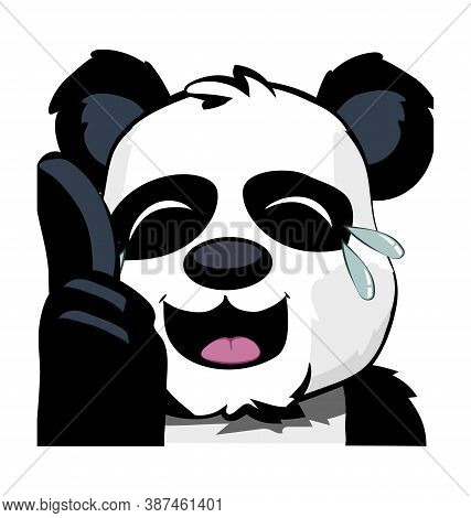 Cute Panda Bear Pointing In Crying Laughter - Laugh Emote - Vector Emoticon Isolated