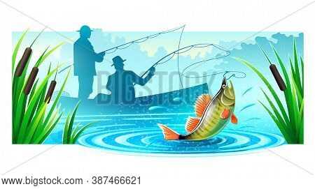 Fishermen silhouettes fishing in boat on river catched big fish. Mist floats rods and reeds. Morning landscape dawn. Banner isolated white background. 3D illustration.