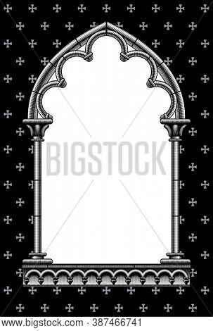 Engraved vintage drawing of a classic gothic architectural decorative frame