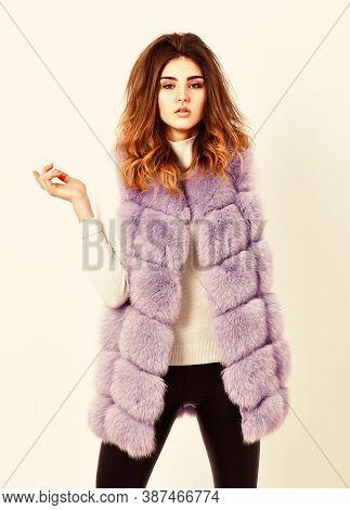 Winter Fashionable Wardrobe For Female. Boutique Selling Fur. Woman Makeup Face Wear Fur Vest White