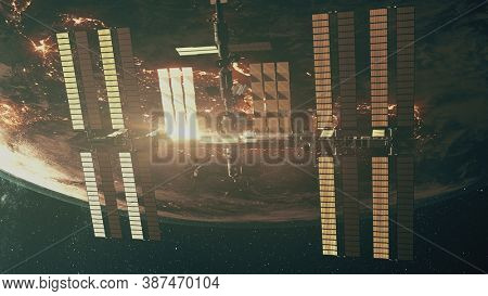 ISS with solar panel flying over Earth atmosphere. International Space Station orbit realistic planet. Science, astronomy concept. 3d render animation. Elements of this image furnished by NASA