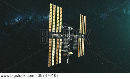 International Space Station charge from starlight. Pan left realistic ISS with solar panel. Alternative energy sources. Astronomy concept. 3d render animation. Elements of this media furnished by NASA