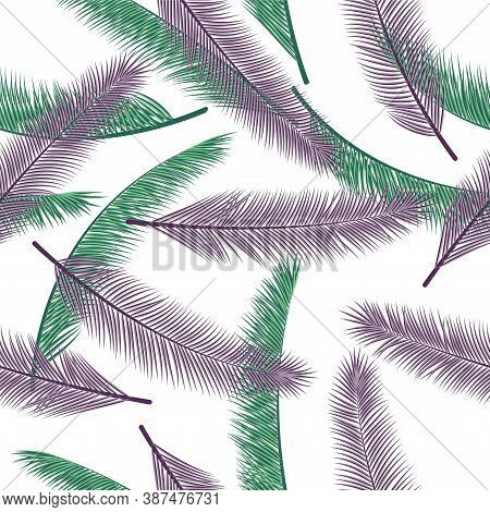 Organic Feather Plumage Vector Seamless Ornament. Floral Wallpaper. Airy Natural Feather Plumage Wra