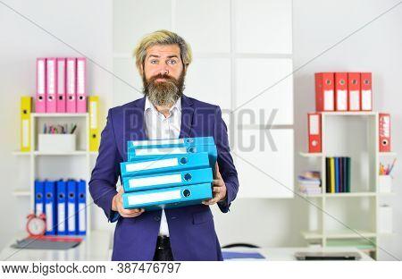 Good Worker. Portrait Of Businessman Hold Office Folder. Professional Businessman Waiting For Partne