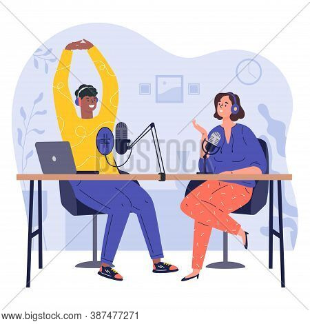 Radio Host.podcast Concept Illustration.young Happy Man And Woman Radio Hosts Characters Podcasters