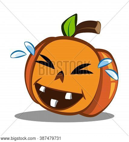 Cute Halloween Pumpkin In Crying Laughter - Laugh Emote - Vector Emoticon Isolated