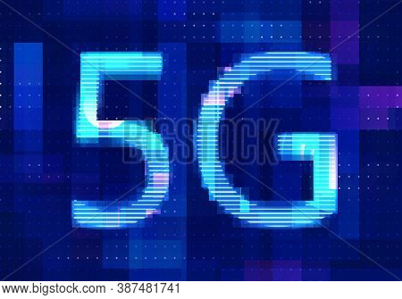 5g Network Internet Mobile Icon Technology Blue Background. Abstract Digital Machine Learning With D