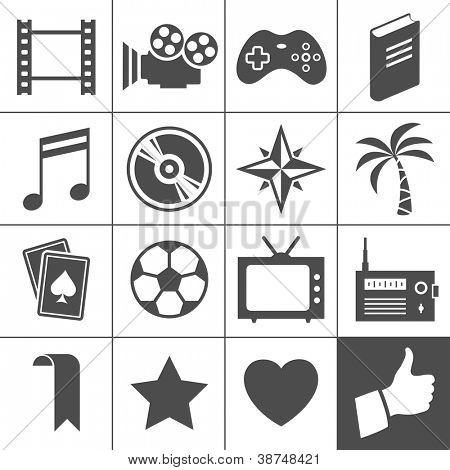Entertainment icon set. Simplus series. Each icon is a single object (compound path)