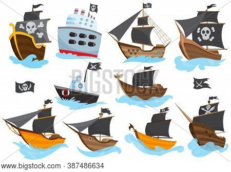 Set Of Various Types Stylized Cartoon Pirate Ships Illustration With Black Sails. Galleons With Imag