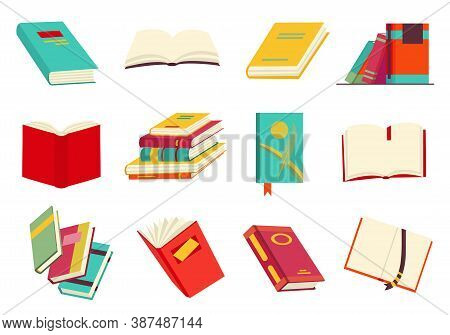 Collecction Of Various Books, Stack Of Books, Notebooks. Reading, Learn And Receive Education Throug