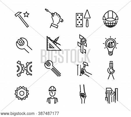 Black Building Icons In Simple Style. Building Tools. Industry And Building, Construction Icons Desi