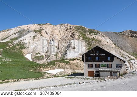 Col Du Galibier, France - July 8, 2020: Mountain Hut At The Col Du Galibier Pass