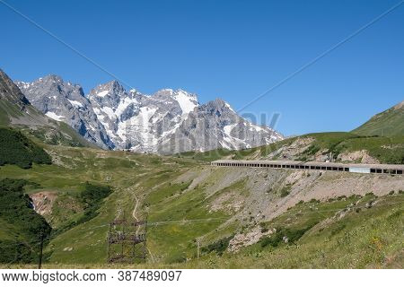 Col Du Lautaret, France - July 8, 2020: Mountain Panorama Of Col Du Lautaret, A French Alpine Mounta