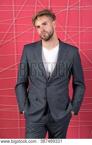 Male Formal Fashion. Confident Businessman In Suit. Businessman. Serious Man. Feel The Success. Busi