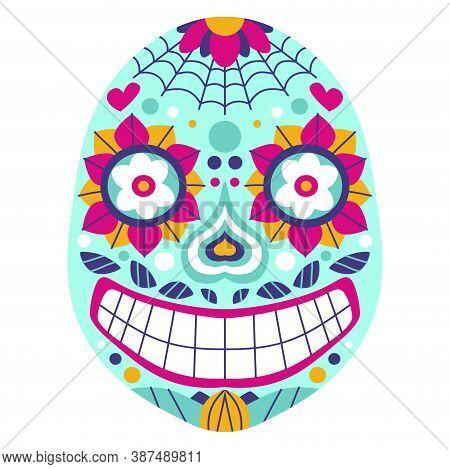 Funny Bold Colors Calavera Skull Stock Vector Illustration. Smiling Cartoon Bright Mexican Sugar Sku