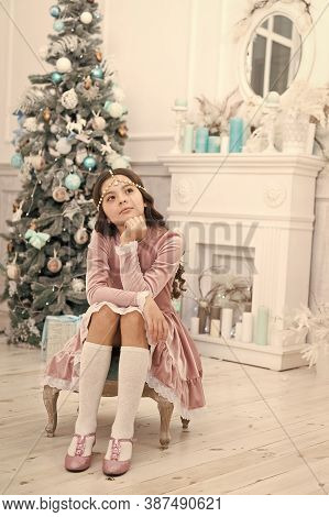 Celebrate The Holiday Night In Style. Little Child Dressed For Holiday Party. Small Girl With Festiv