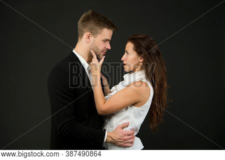 Man Embrace Woman. Romantic Business Couple. Fashionable Pair Of Elegant People. Boss And Secretary