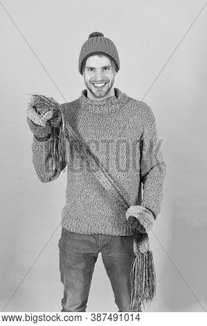 Being In Playful Mood. Men Knitted Cloth And Accessory. Male Blue Background. Poor Homeless Man. Che