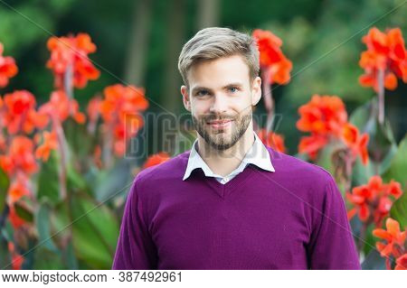 Business Casual Fashion Style. Young Unshaven Man Outdoor. Male Beauty And Fashion. Guy With Bristle